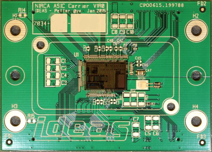 NIRCA chip for readout of focal plane arrays mounted on PCB.